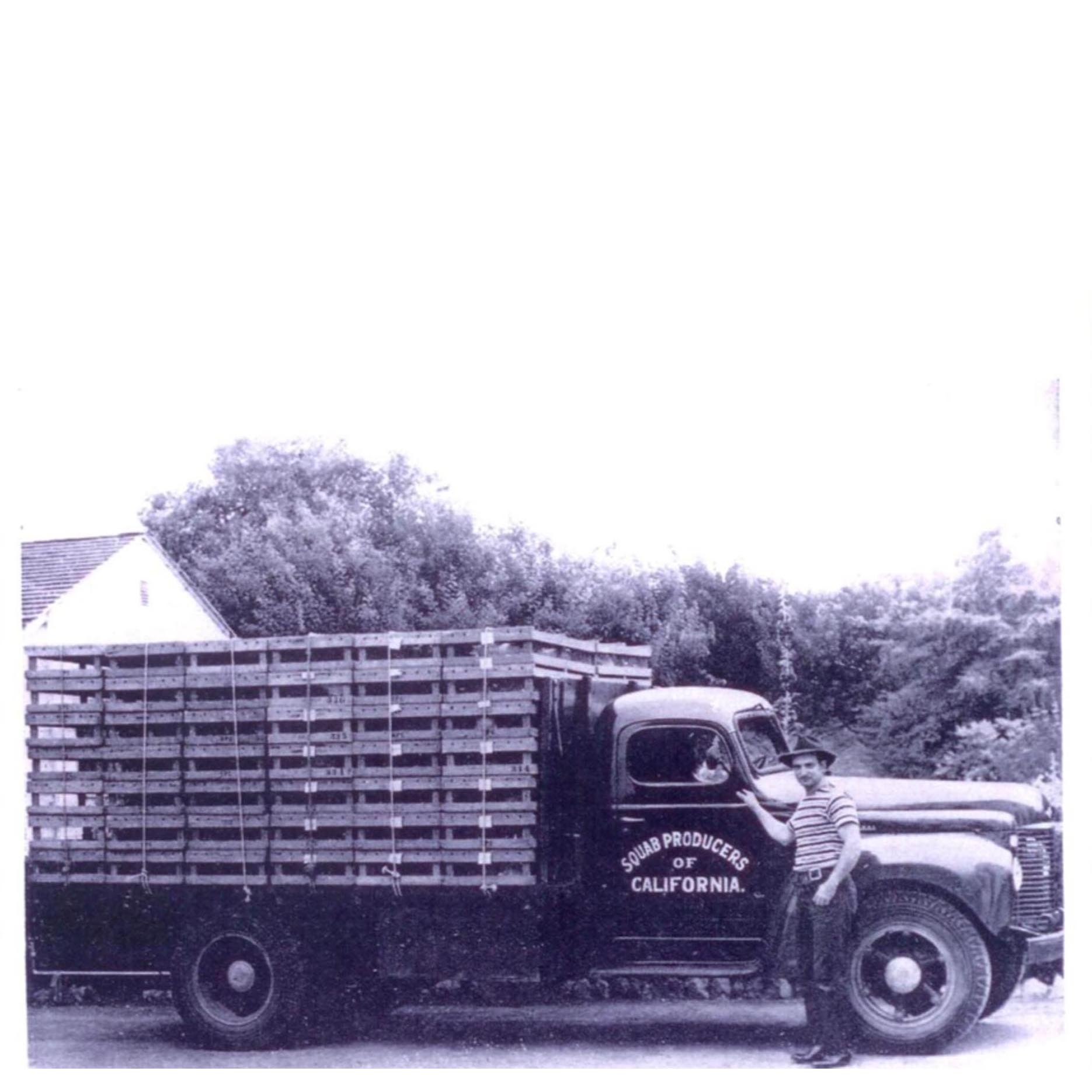 August 1945. Co-op member Tony Cecillo pictured with the SPOC delivery truck.