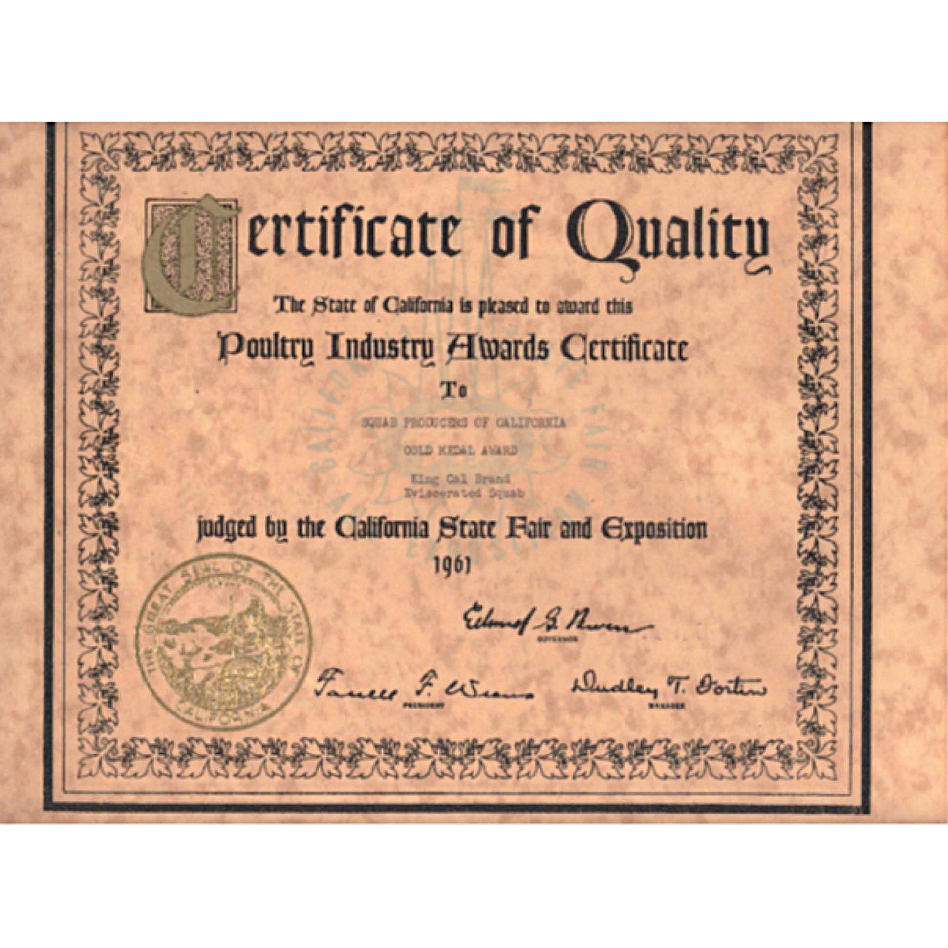1961. State Fair Certificate of Quality. Awarded to Squab Producers of California / King Cal Squabs.