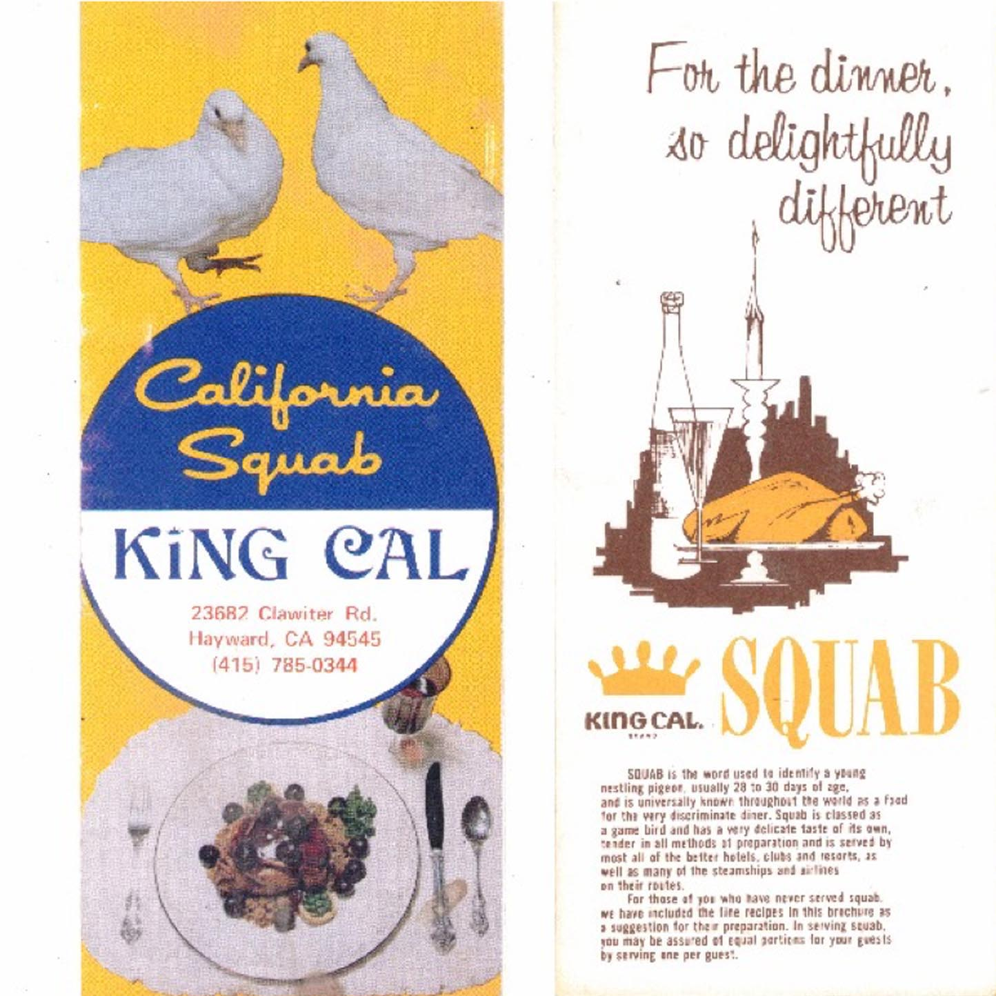 1972. King Cal Squab advertising.