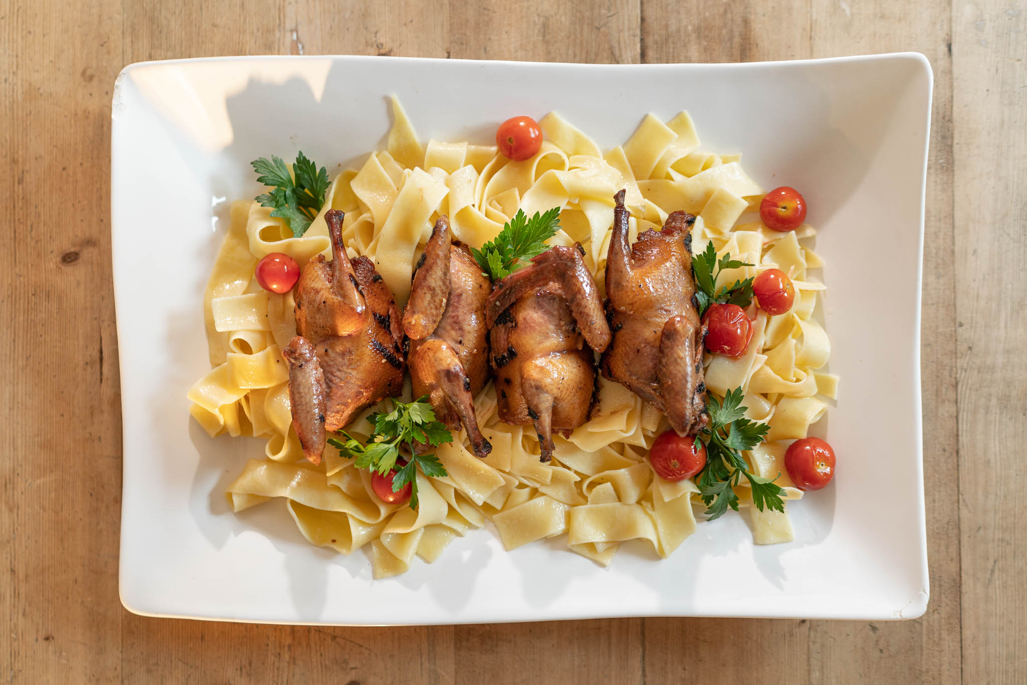 Ginger Soy Squab with Garlic Egg Noodles
